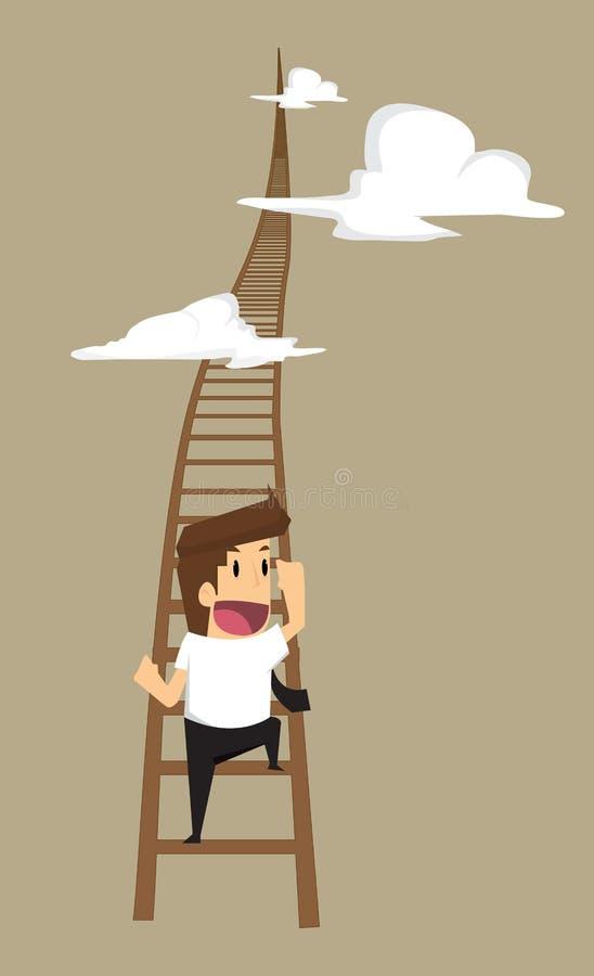 攀登台阶的商人由一个更高的位置决定 皇族释放例证