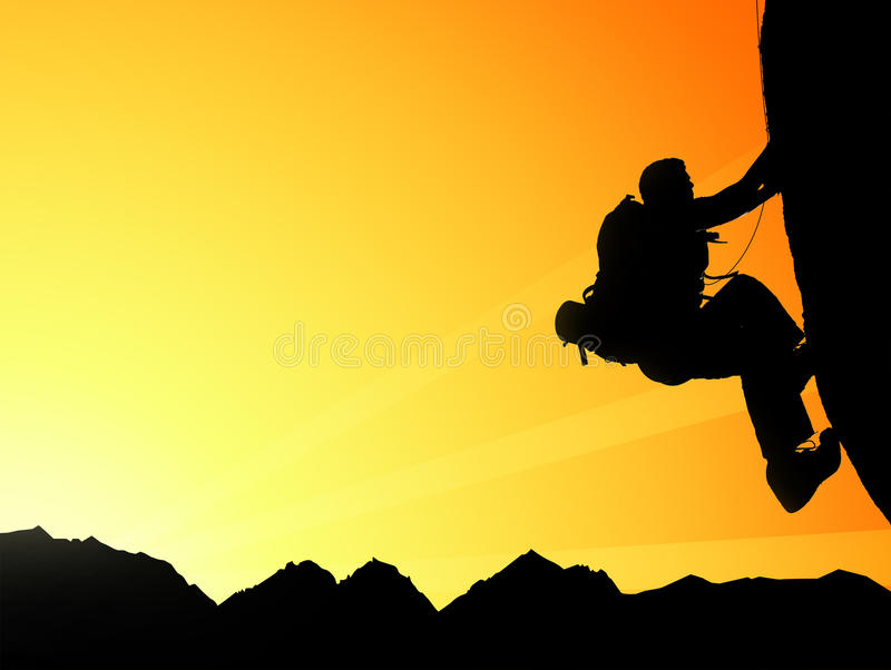 攀登年轻成人剪影在山顶顶部 库存图片