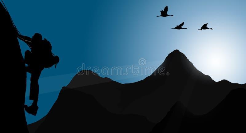 攀登年轻成人剪影在山顶顶部 向量例证
