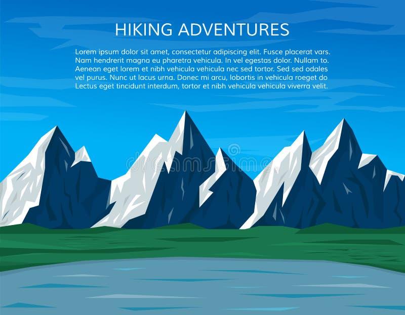 攀登或远足横幅 大横向山山 库存例证