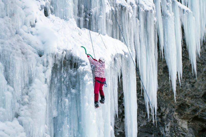 攀登瀑布的冰 免版税图库摄影