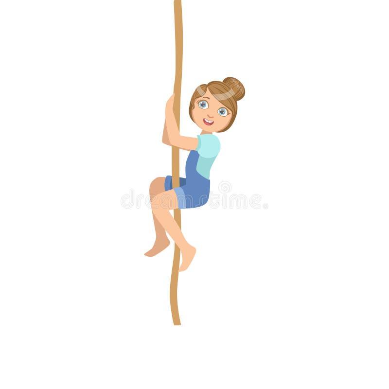 攀登绳索的女孩作为体育类锻炼 皇族释放例证