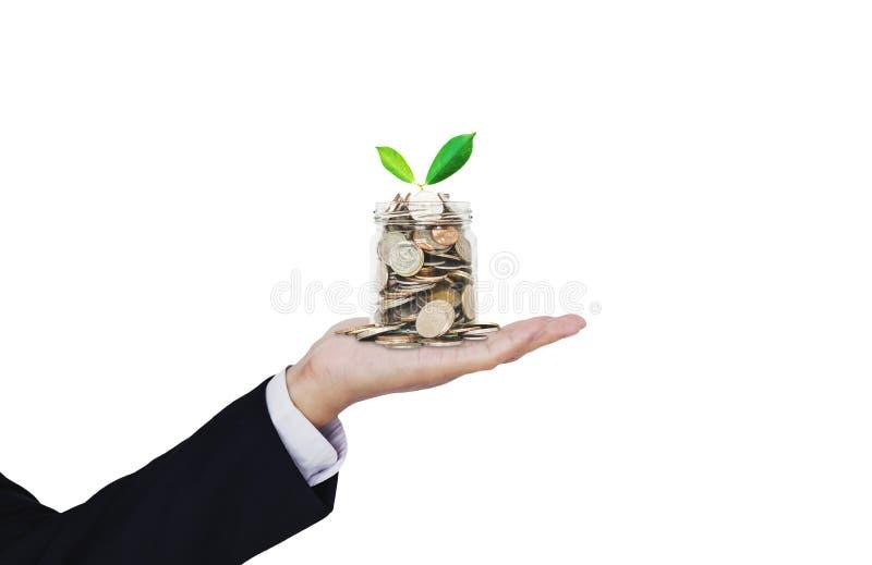 攒钱、财政事务、企业成长和投资 商人手充分藏品瓶子与增长的植物的硬币 库存图片