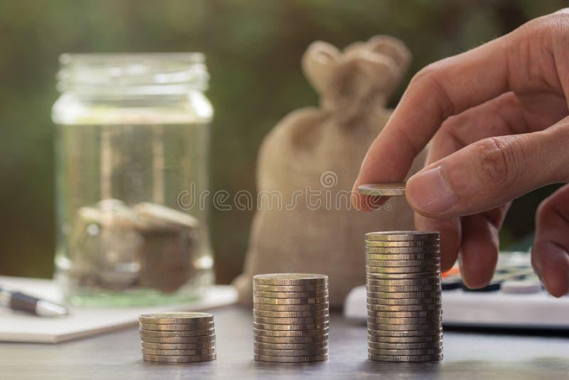 攒钱、金钱投资和财政概念 库存照片