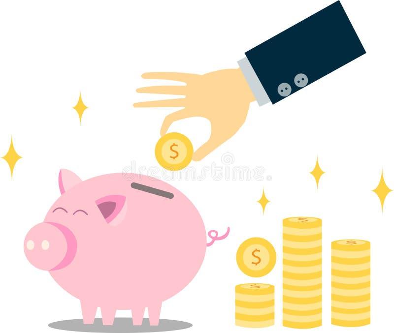 攒钱为金融证券和将来人生 存钱罐和金钱收藏家 向量例证