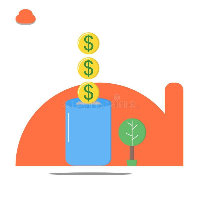 攒钱,保存金钱概念,保存美元硬币 向量例证