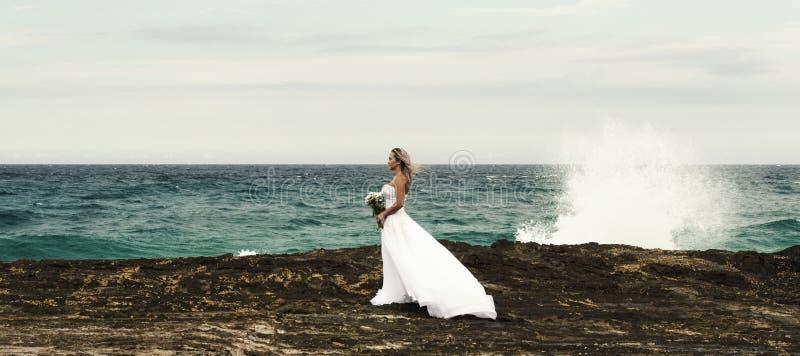攫夺者岩石海滩的新娘在新南威尔斯 免版税库存图片