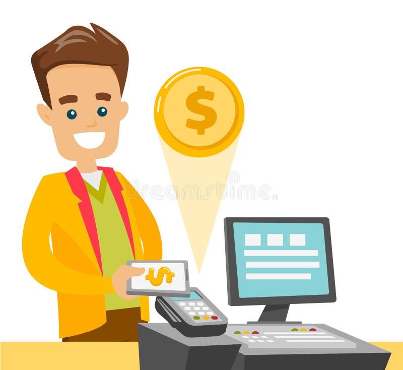 支付在与他的智能手机的钱柜的一名白人 向量例证