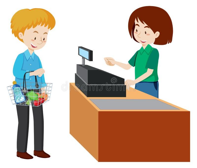 支付在超级市场的出纳员的一个人 向量例证