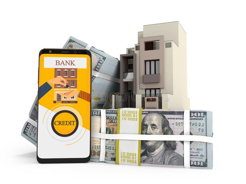 支付贷款的概念以美元房子通过智能手机3d回报在与阴影的白色背景 库存例证