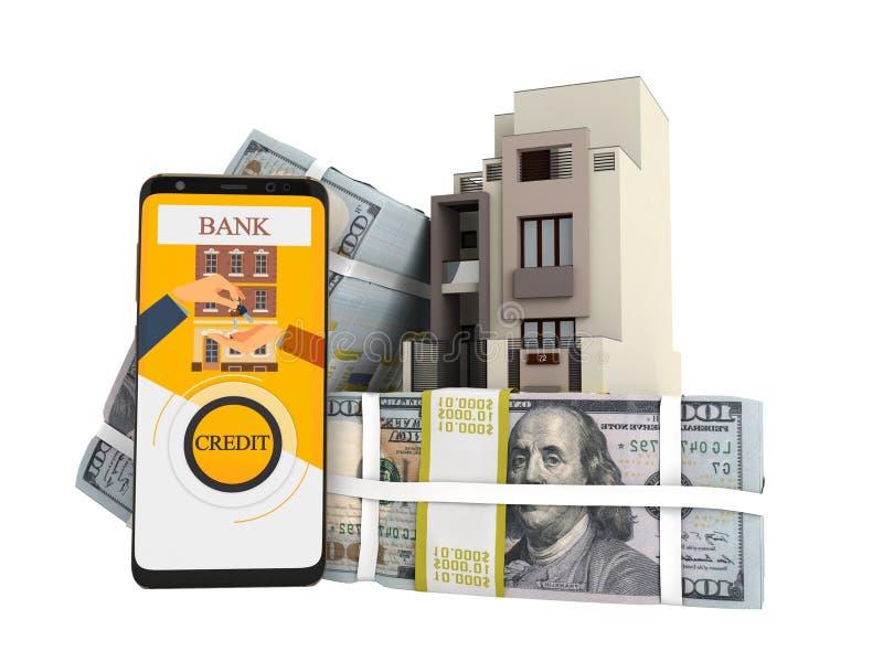 支付贷款的概念以美元房子通过智能手机3d回报在白色背景阴影 皇族释放例证