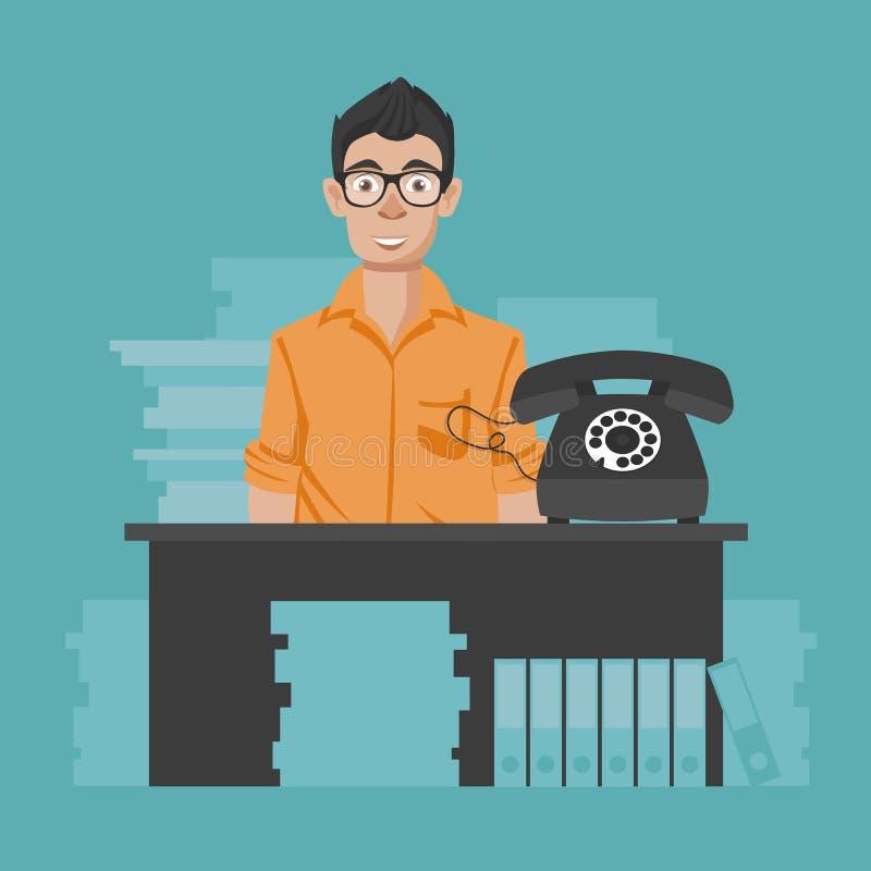 支助服务概念 技术支持助理在办公室 o 向量例证