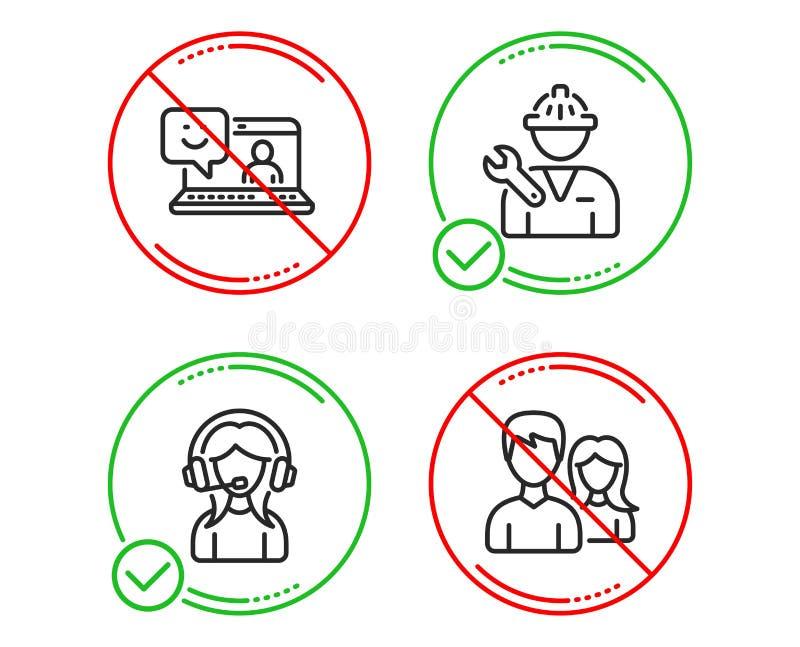 支持、微笑和安装工象集合 配合标志 电话中心,膝上型计算机反馈,修理服务 向量 库存例证