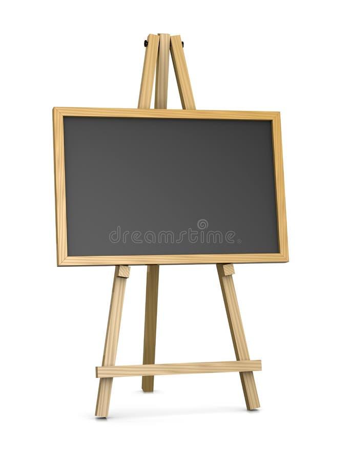 支持一个空的黑板的木画架 库存例证
