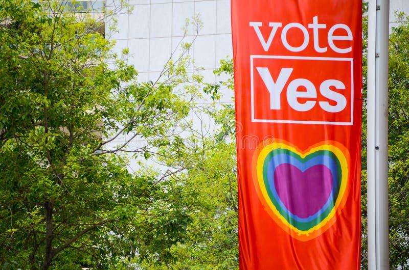 支持与心脏彩虹的悉尼理事会同性婚姻由在一灯柱`的一面旗子投赞成票`横幅 库存照片