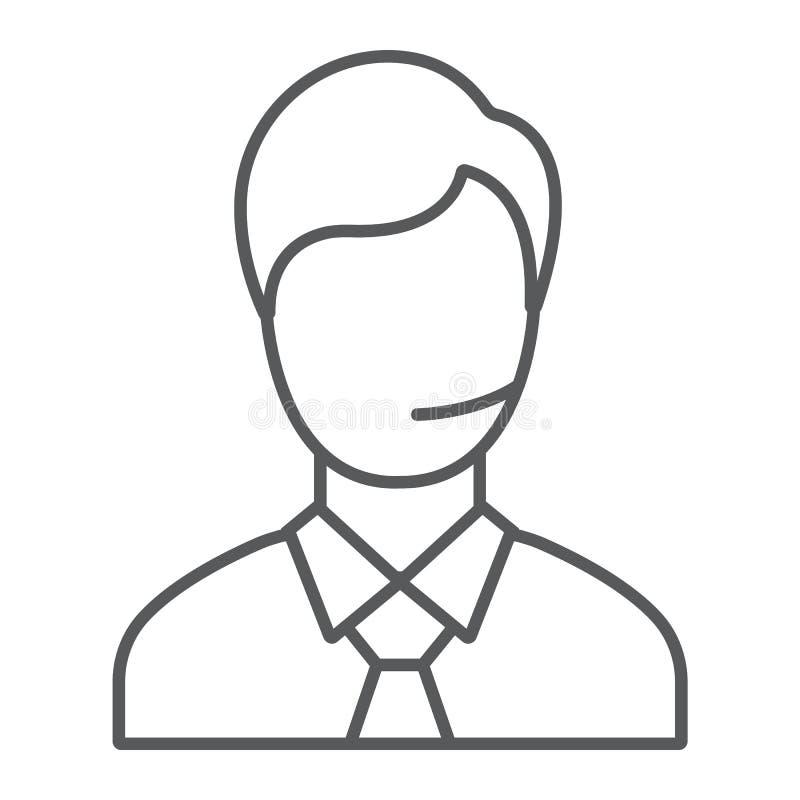 支持人稀薄的线象,电话和通信,咨询标志,向量图形,在白色的一个线性样式 向量例证