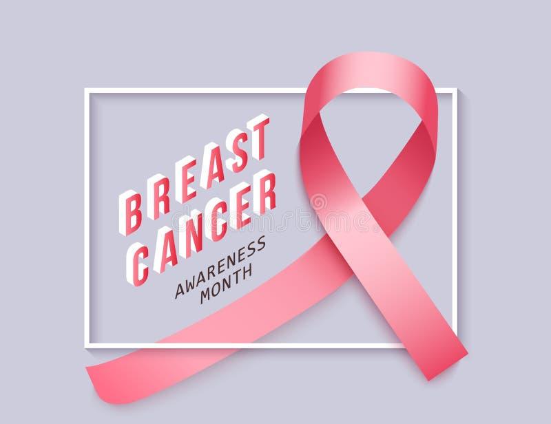 支持和了悟横幅与乳腺癌和现实桃红色缎带 库存例证