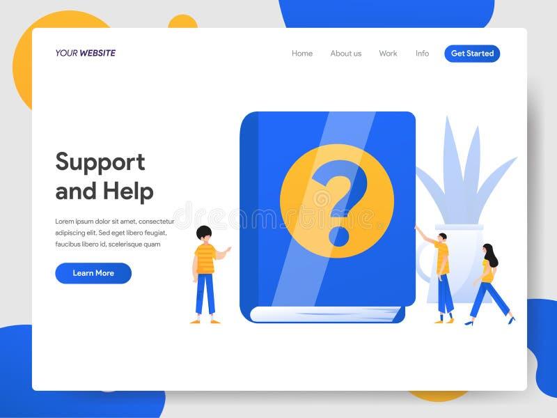 支持和帮助例证概念登陆的页模板  网页设计的现代设计概念网站和机动性的 库存例证