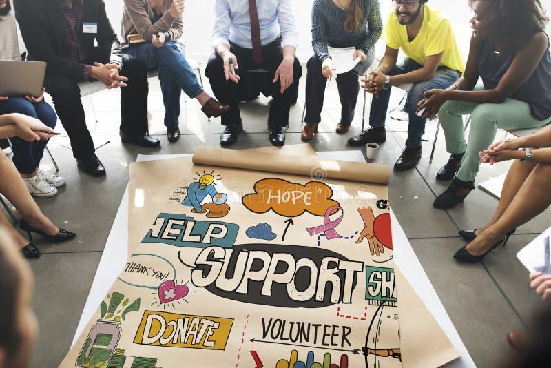 支持帮助人道主义忠告合作概念 免版税库存照片