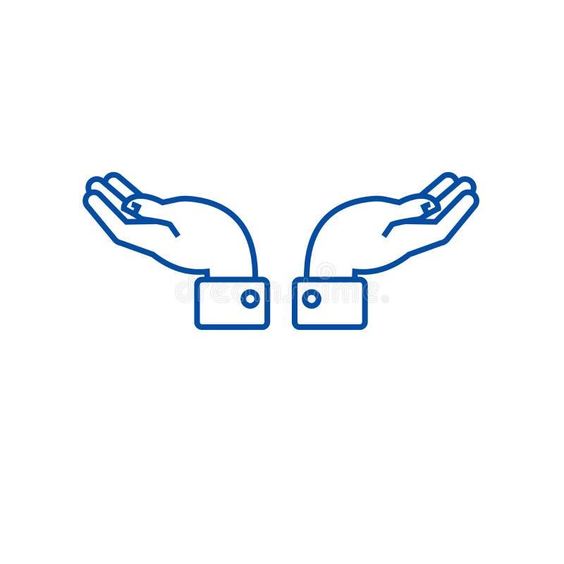支持手钓丝象概念 支持手平的传染媒介标志,标志,概述例证 皇族释放例证