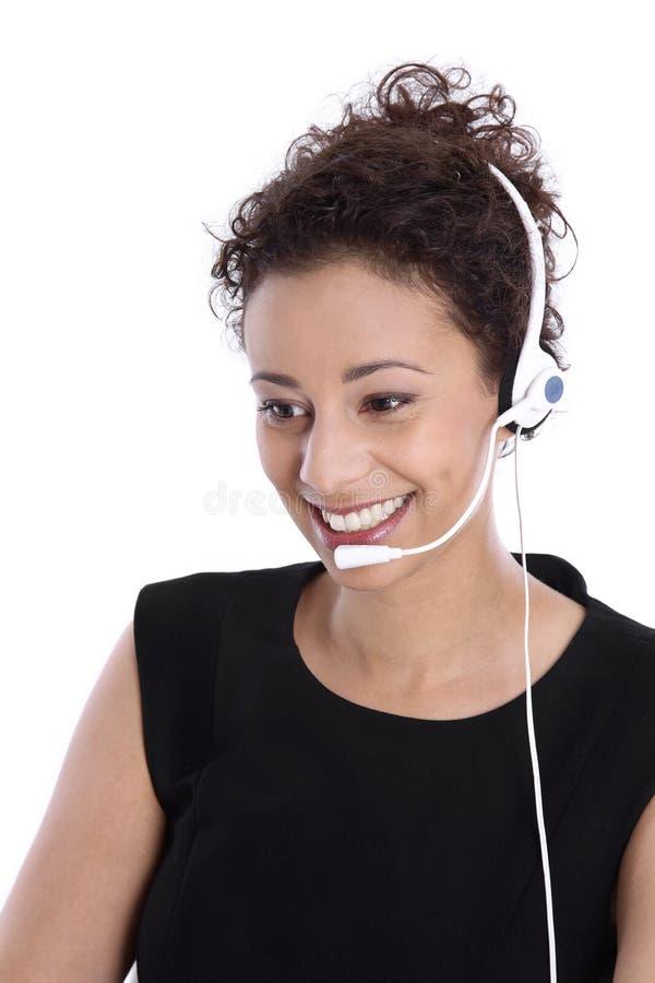 支持有耳机的电话操作员:被隔绝的年轻企业wom 免版税库存图片
