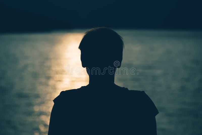 支持湖的沮丧的哀伤的妇女剪影  免版税库存照片