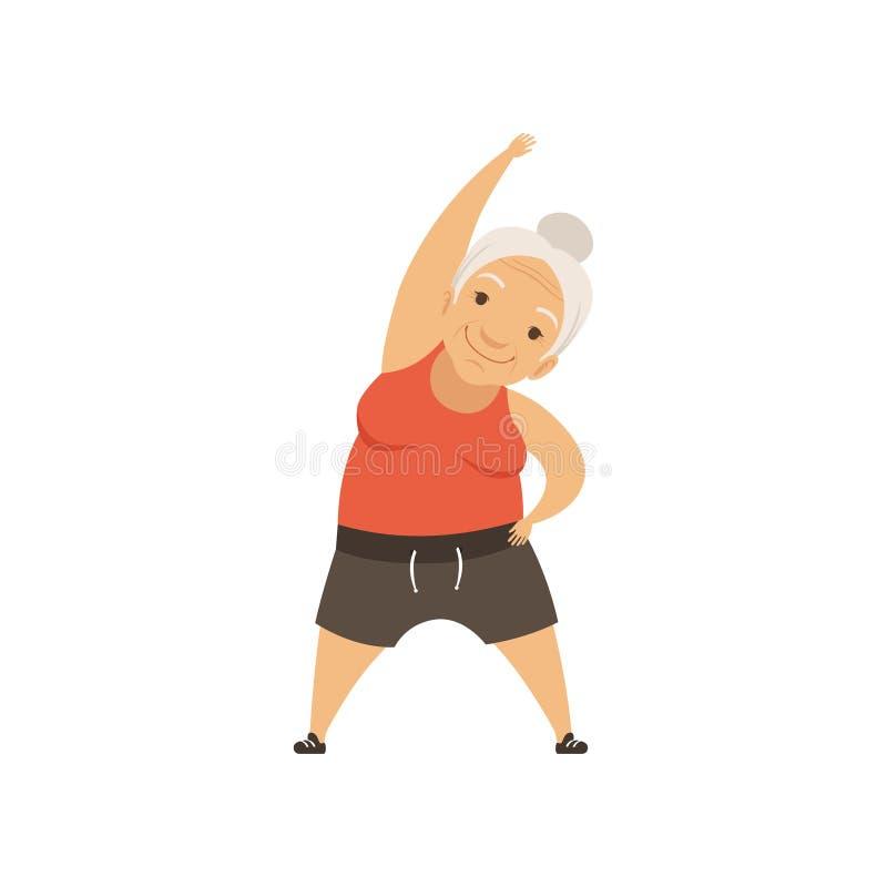 支持的体育一致的做的斜面的灰色资深妇女,祖母字符做早晨锻炼的或治疗 库存例证