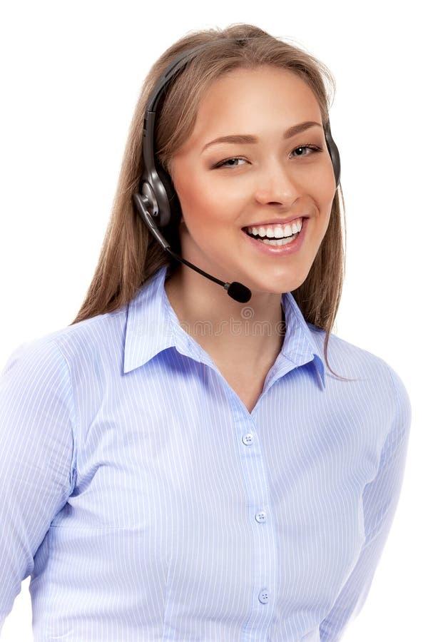支持被隔绝的耳机的电话操作员 免版税库存图片