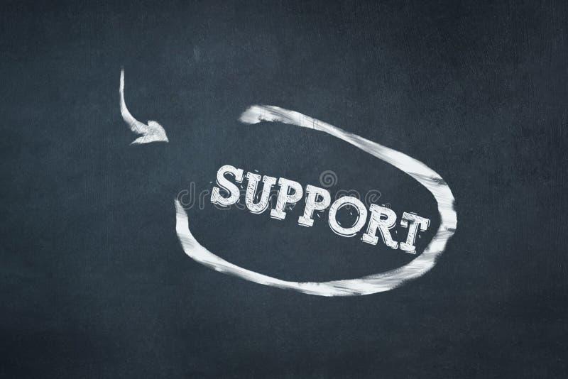 支持,在白垩的题字在一个蓝色委员会 到达天空的企业概念金黄回归键所有权 忠告、帮助和协助想法  免版税库存照片