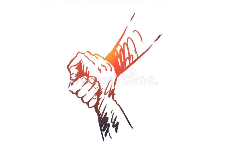 支持,帮助,友谊,一起,人概念 手拉的被隔绝的传染媒介 库存例证