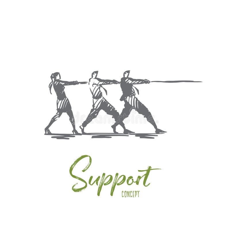 支持,队,一起,合作,帮助概念 手拉的被隔绝的传染媒介 库存例证