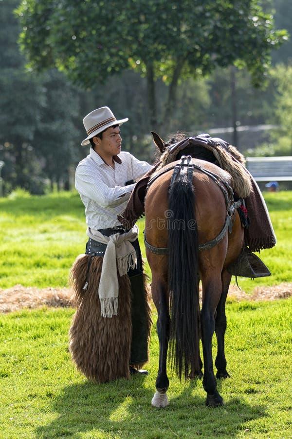支持他的马的牛仔在厄瓜多尔 免版税库存图片