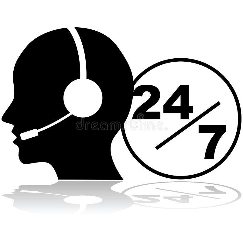 支持24/7 皇族释放例证