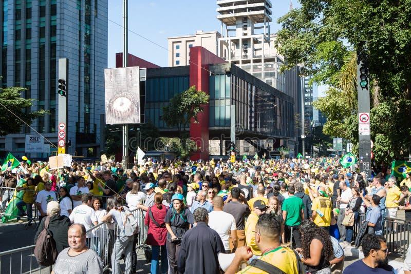支持Presidente杰尔Bolsonaro的巴西抗议者 库存照片