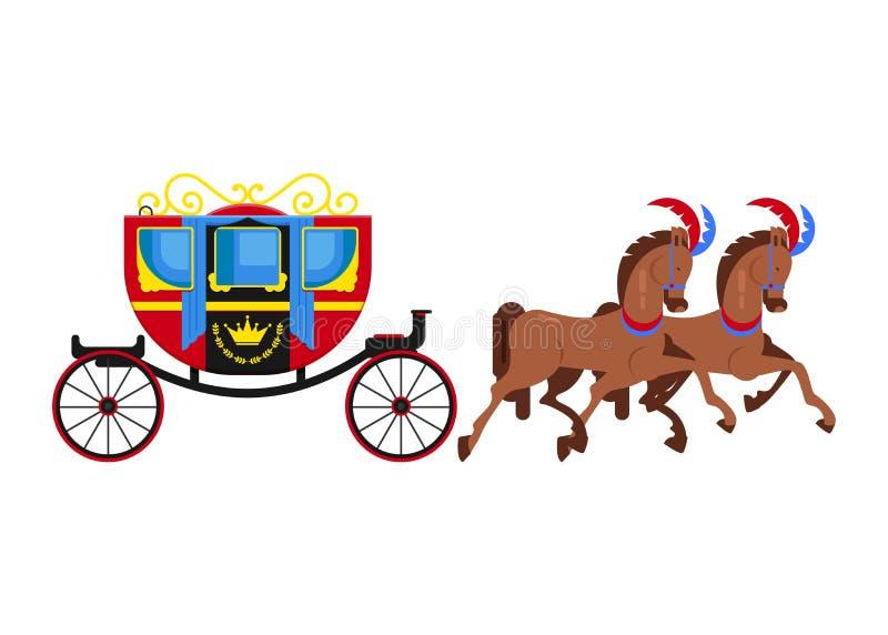支架教练传染媒介与老轮子和古色古香的运输例证套的葡萄酒运输马车夫 库存例证