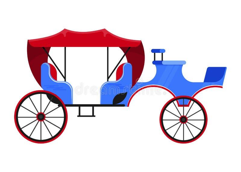 支架教练传染媒介与老轮子和古色古香的运输例证套的葡萄酒运输马车夫 皇族释放例证