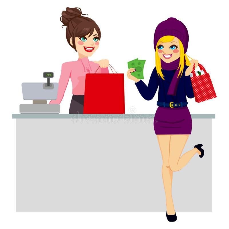 支付与现金的妇女购物 向量例证