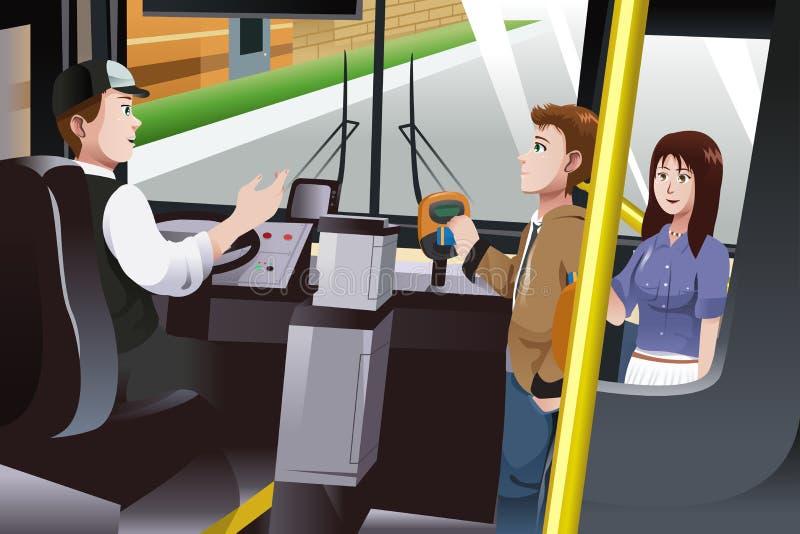 支付公共汽车车费的人们 向量例证