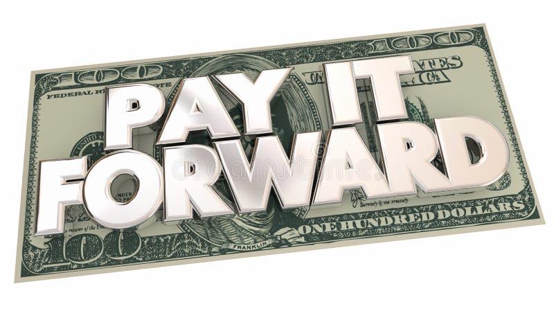 支付它向前现金金钱词份额宽厚 库存例证