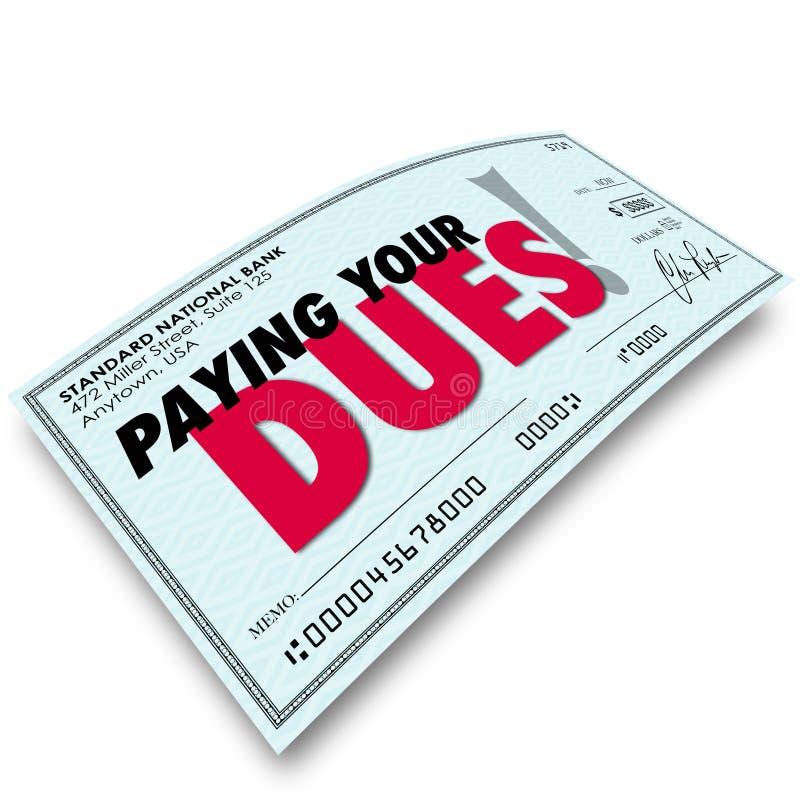 支付您的应得物支票措辞金钱收入义务Requiremen 皇族释放例证