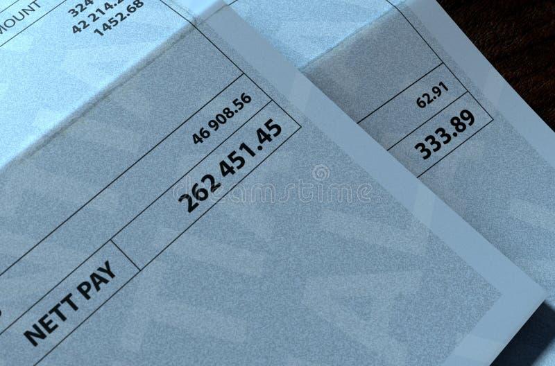 收入不平等薪金支票 向量例证