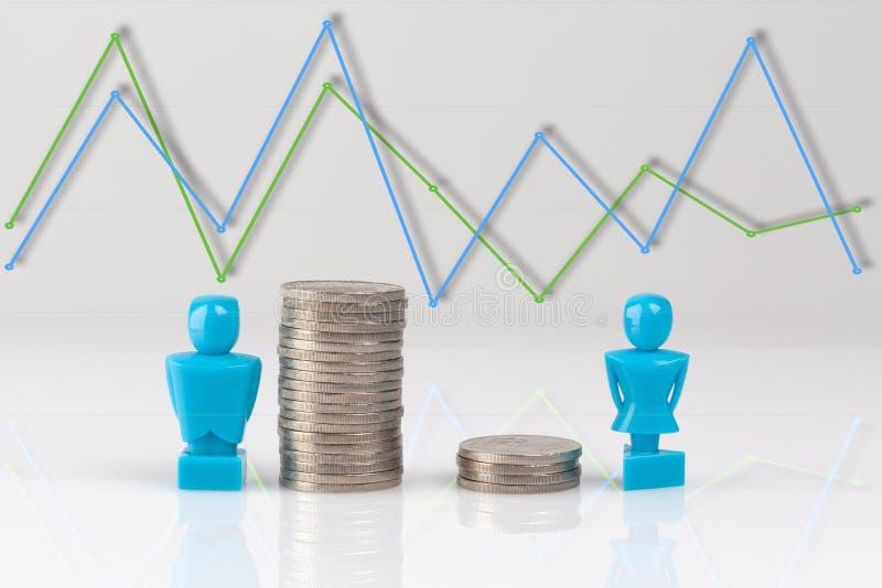 收入与小雕象和硬币的不平等概念 库存例证