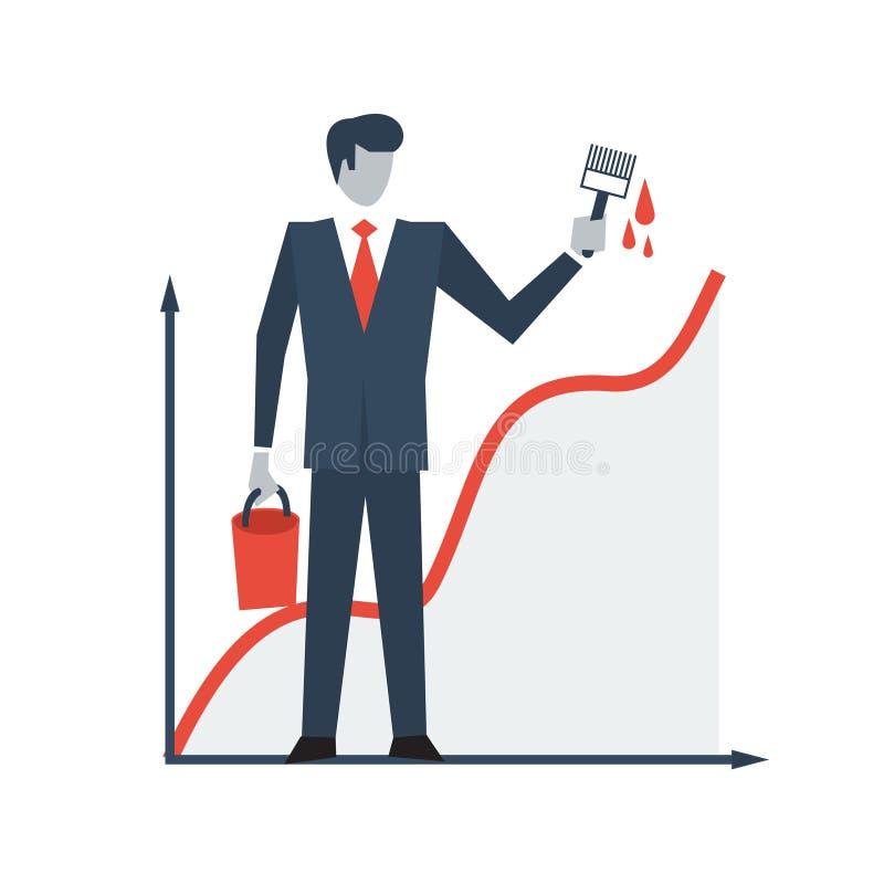 收入图,营业利润成长 向量例证