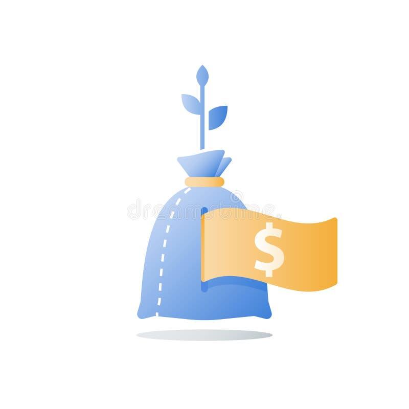收入成长,投资资金,收支增量,长期财富管理,更多金钱的回收投资,高利息 向量例证