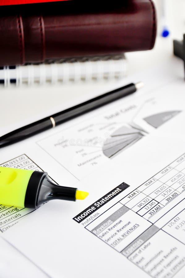 收入报告报表 免版税库存照片