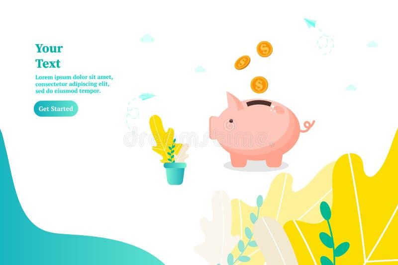 收入的存钱罐、概念和攒钱 向量例证