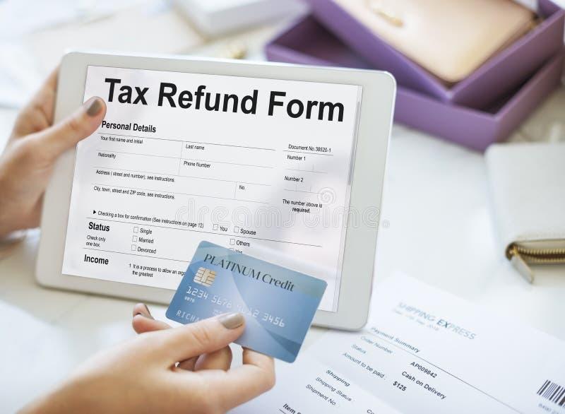 收入税单扣除退款概念 库存照片