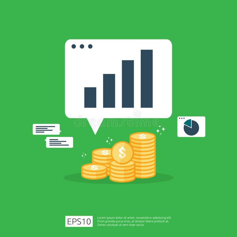 收入薪金美元汇率增量统计 营业利润成长边际收支 回收投资财务表现的 向量例证