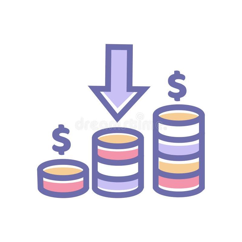 收入象 传染媒介收入与硬币美元和箭头标志传染媒介的标志标志 库存例证