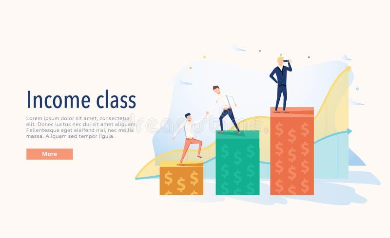 收入阶层传染媒介例证 平展三个水平微小的人财富概念 经济系统符号图 库存例证